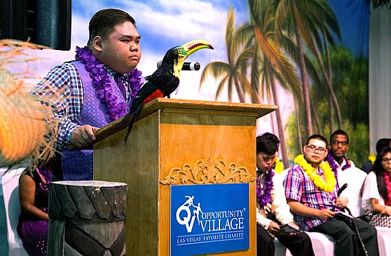 Michael A, a past Job Discovery Program participant, spoke to the students and audience. Job Discovery Program honorees celebrate at the 15th annual event, which took place at the Opportunity Village Event Center (6300 West Oakey Blvd. Las Vegas, NV 89146). The Job Discovery Program is a partnership between Opportunity Village and CCSD.