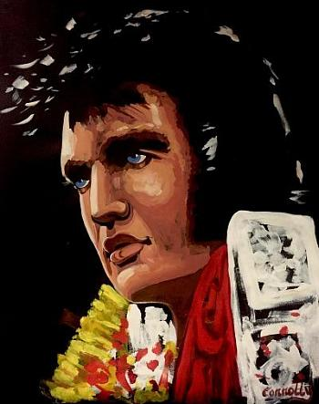 This original painting of Elvis will be auctioned for charity at Mike Hammer's Celebrity Go-Kart Race