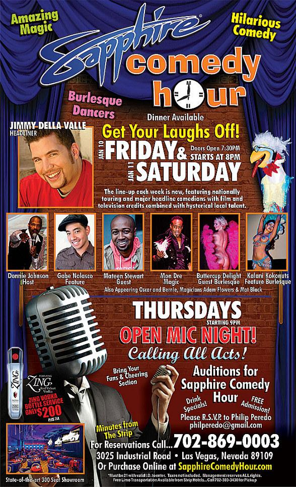 Jimmy Della Valle to Headline Sapphire Comedy Hour at Sapphire Las Vegas Friday, Jan. 10 and Saturday, Jan. 11