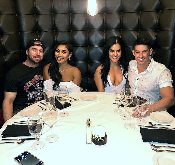 Instagram fitness models Genevieve Ava and Jessica Arevalo dine with their boyfriends at Andiamo Italian Steakhouse Las Vegas