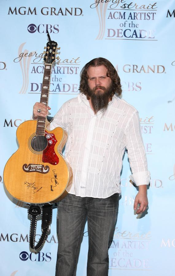 Jamey Johnson with Epiphone Guitar signed by George Strait