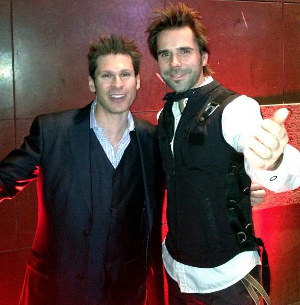 Magicians Mike Hammer and Jan Rouven at Zarkana After-Party