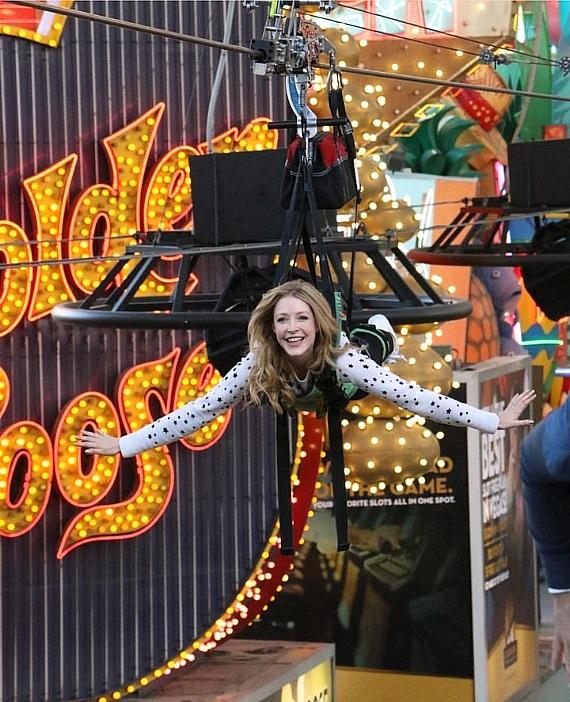 Jennifer Finnigan rides the Slotzilla Zoomline in Las Vegas