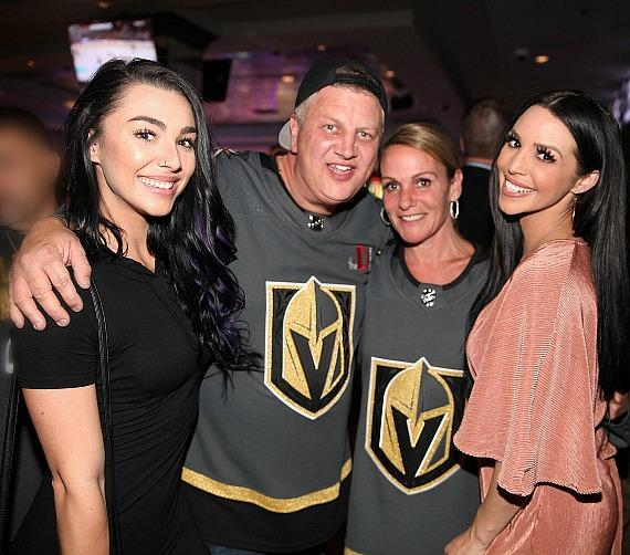 Kailah Casillas, Derek Stevens with wife Nicole, and Scheana Shay at the D Casino Hotel Las Vegas