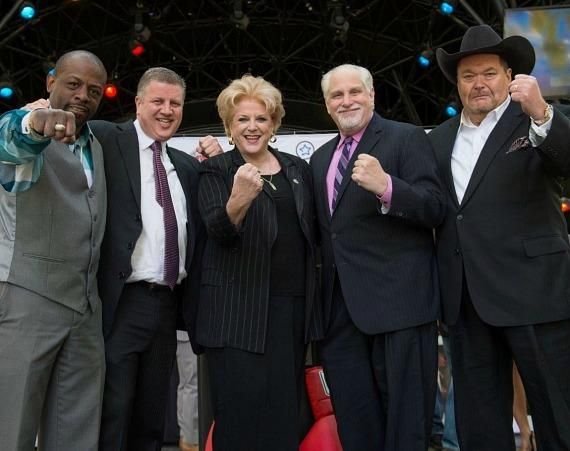 "Kevin ""Flushing Flash"" Kelley, the D Las Vegas Owner Derek Stevens, Mayor Carolyn Goodman, Al Bernstein and Jim Ross at the D Las Vegas"