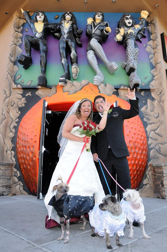 Dawn Fallon and Ian Fallon outside Kiss Monster Mini Golf in Las Vegas