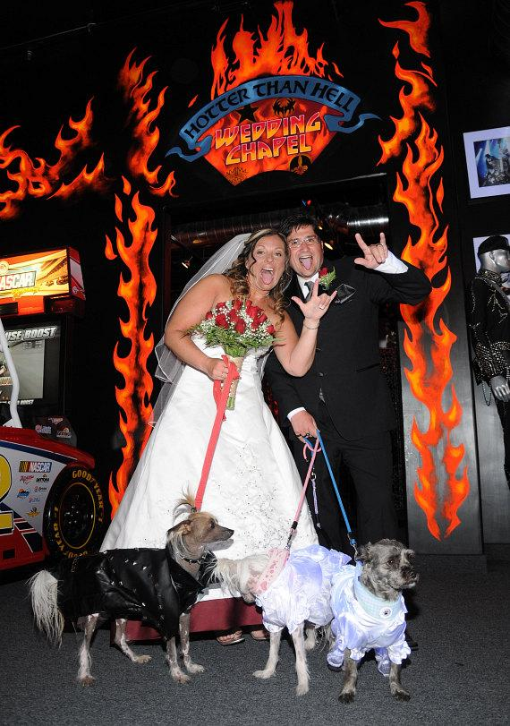 Dawn Fallon and Ian Fallon outside the Hotter Than Hell wedding chapel