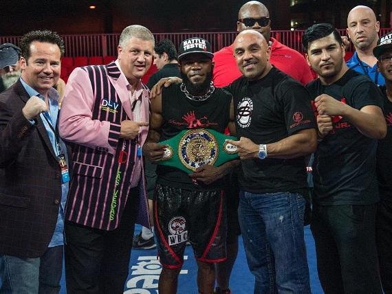 """Knockout Night at the D"" Main Event Winner Demond Brock with Owner Derek Stevens and Championship Belt at Downtown Las Vegas Events Center in Las Vegas"