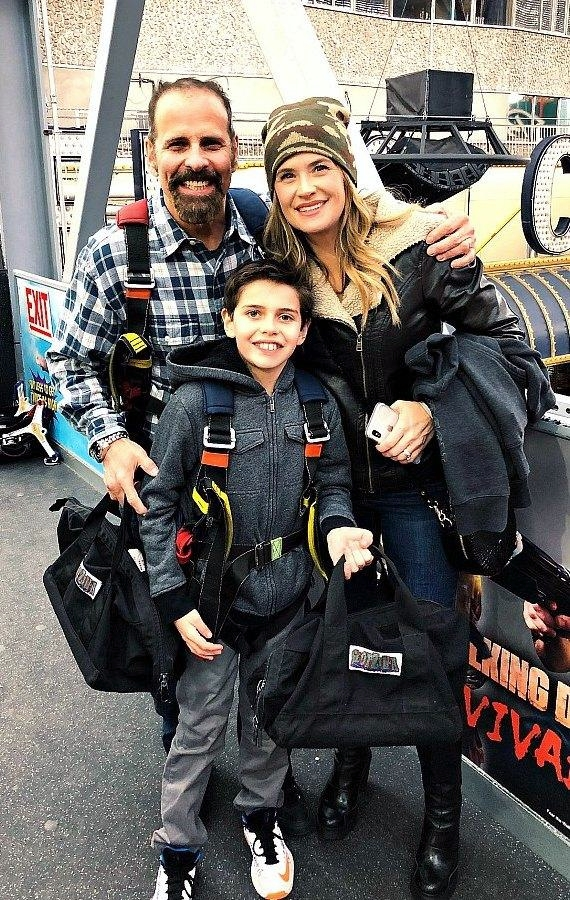 Kristy Swanson and family in Downtown Las Vegas