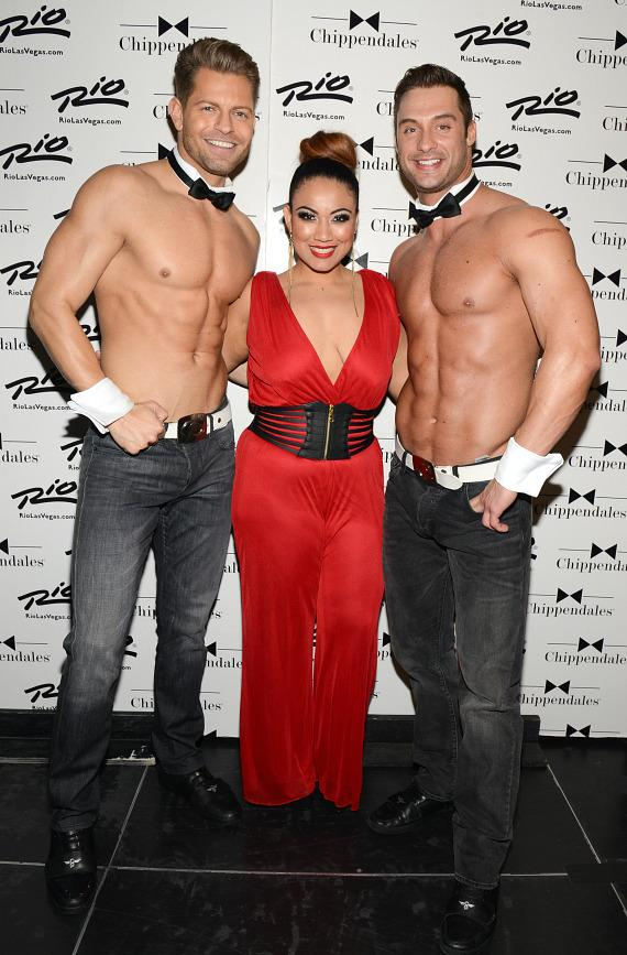 Mia Amor with men of Chippendales