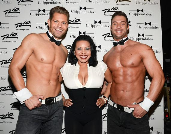 Lady G with men of Chippendales