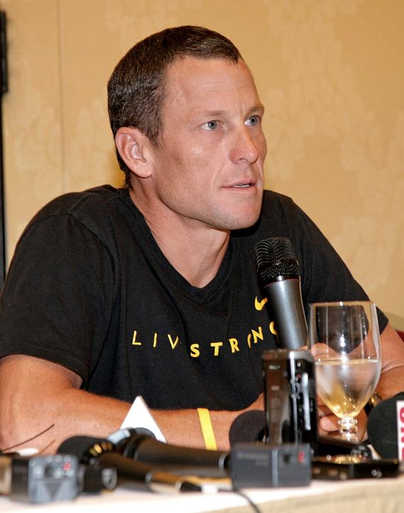 Lance Armstrong at a press conference inside The Venetian Resort Hotel Casino