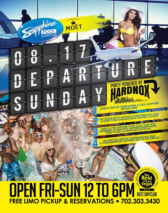 "Sapphire Pool & Day Club to Host ""Departure Sunday"" with Music by Hardnox August 17"