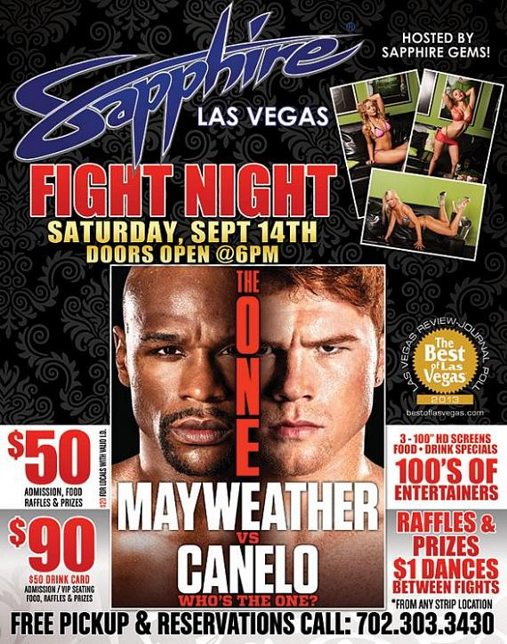 Mayweather vs. Canelo: Fight Night Live on PPV at Sapphire Las Vegas Saturday, Sept. 14