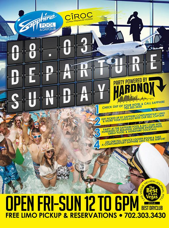 """Sapphire Pool & Day Club to Host """"Departure Sunday"""" in Las Vegas on August 3"""