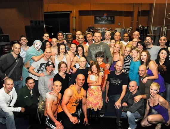 Chuck Liddell with cast of Le Reve Show at Wynn Las Vegas
