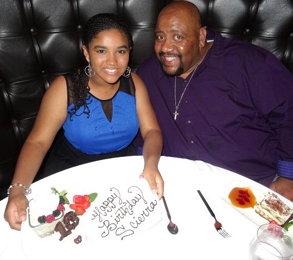 "Leon 'Bubba' Ganter from Nickelodeon's ""Game Shakers"" celebrates daughter Scierra's Birthday inside Andiamo Italian Steakhouse in Las Vegas"