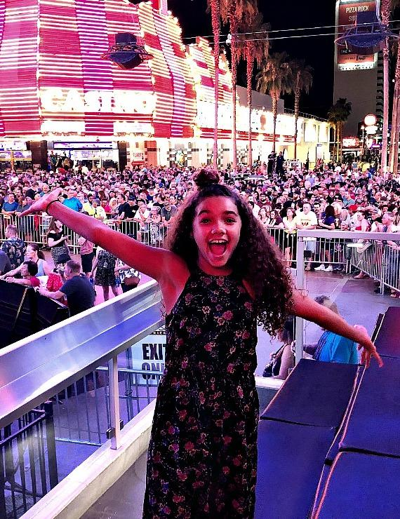 """The D Executive Richard Wilk with """"Skyscraper"""" Actress McKenna Roberts at Fremont Street Experience and the D Casino Hotel in Las Vegas"""