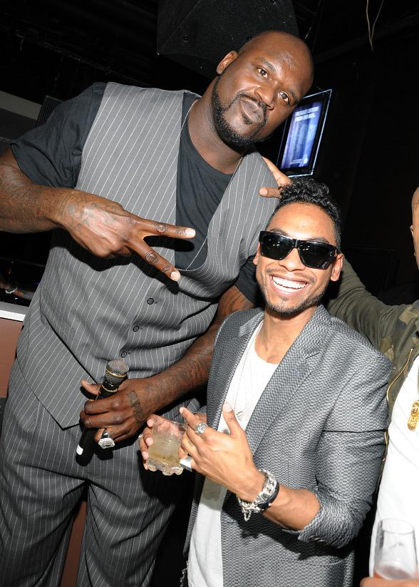 Shaquille O'Neal and Miguel at PURE Nightclub
