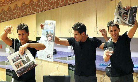 Photo montage of Mike Hammer performing magic UMC Children's Hospital in Las Vegas