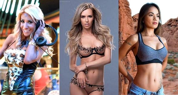 Violinist/DJ Lydia Ansel, Dancer/Model Mariah Rivera and Tattoo/Bikini Model Dixie Miranda