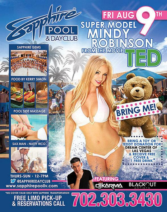 Sapphire Pool & Dayclub to Host Teddy Bear Pool Party Featuring Super Model Mindy Robinson and DJ Karma August 9