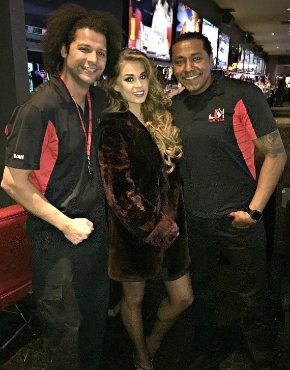Miss United States Summer Priester with the D Casino Hotel Flair Bartenders Ivan and Richard