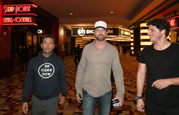 "Actor Gerard Butler with friends at Opening Weekend of his film ""London Has Fallen"" at Planet Hollywood"