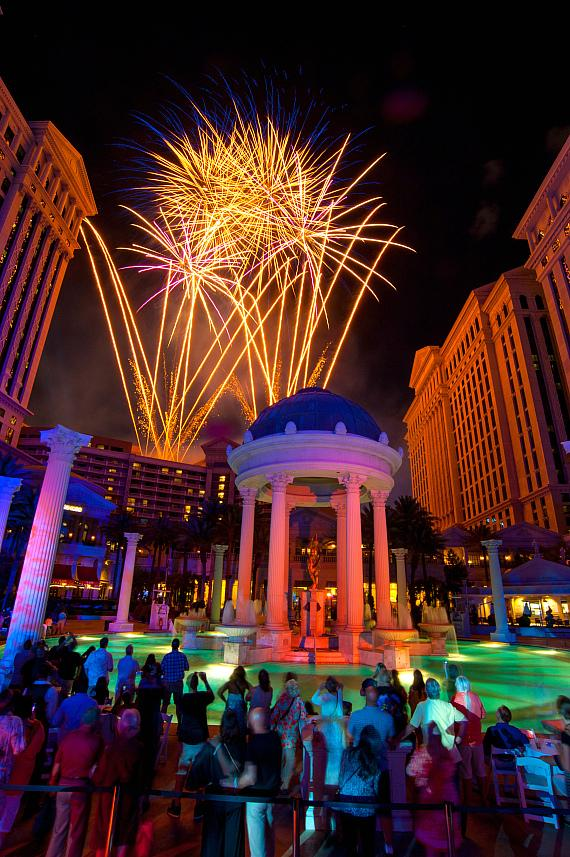 Caesars Palace Celebrates 50th Birthday with Pool Party Hosted by Gordon Ramsay, Five-Tier Birthday Cake, Cocktail Competition and Fireworks Extravaganza
