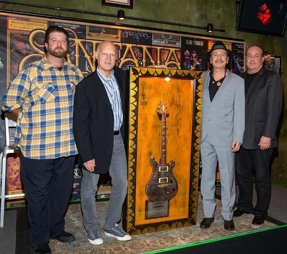 Tim Jorgensen, General Manager, House of Blues Las Vegas; Ron Bension, President, House of Blues Entertainment; Carlos Santana; Michael Vrionis, COO, Cristalino