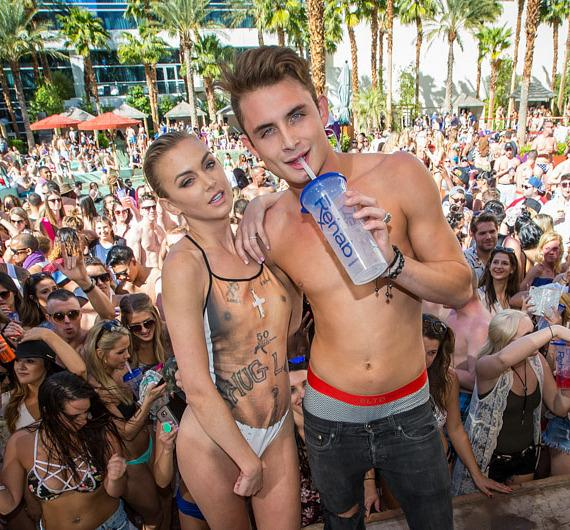 """Vanderpump Rules"" stars Lala Kent and James Kennedy at REHAB Beach Club at Hard Rock Hotel & Casino Las Vegas"
