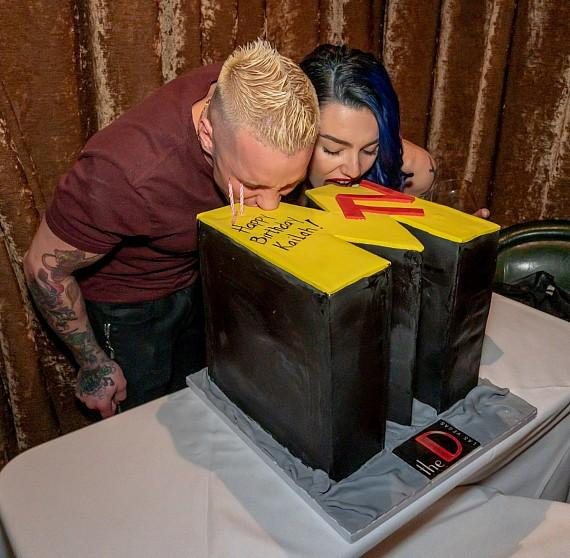 """MTV """"Real World"""" and """"The Challenge"""" reality star Kailah Casillas with boyfriend Rapper Mikey P to celebrate 26th Birthday at Andiamo Italian Steakhouse in the D Las Vegas"""