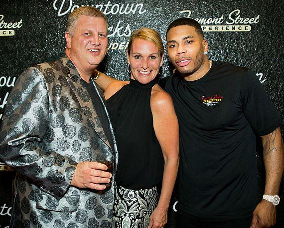 Nelly with Casino Owner Derek Stevens and his wife Nicole at the D Las Vegas