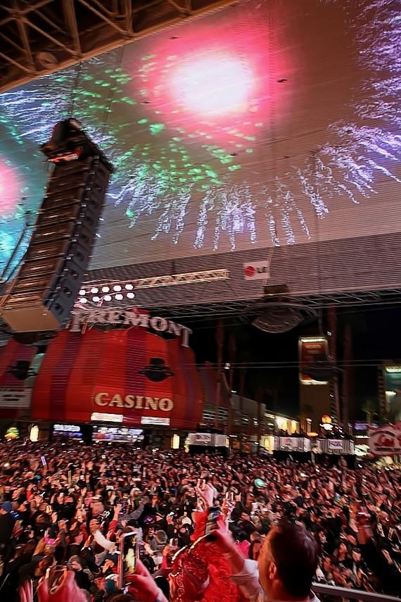 New Years Eve at Downtown Las Vegas 2018 - Fremont Street View from the D Casino Hotel