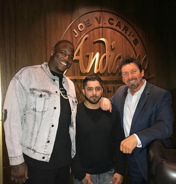 NFL Malik Jackson with Carlos Macedo and Richard Wilk at Andiamo Italian Steakhouse Las Vegas