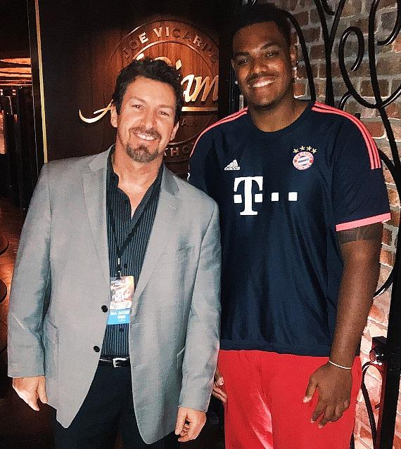 NFL Rookie Of The Year AFC Ronnie Stanley (right) with D Executive Richard Wilk (left) at Andiamo Las Vegas