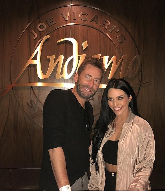 "Nickelback singer Chad Kroeger with ""Vanderpump Rules"" star Scheana Shay at Andiamo Italian Steakhouse inside the D Casino Hotel Las Vegas"