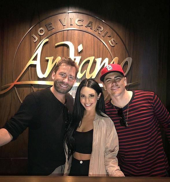 Nickelback's Chad Kroeger and Vanderpump Rules' Scheana Shay and Tom Sandoval at Andiamo Las Vegas
