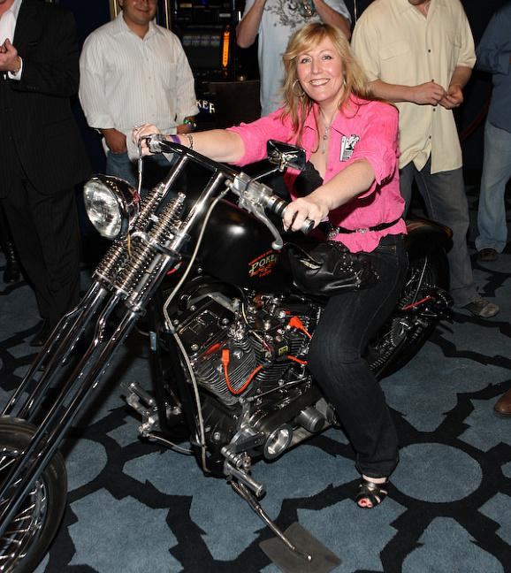 Pam Brunson was awarded a priceless Hard Rock Chopper motorcycle