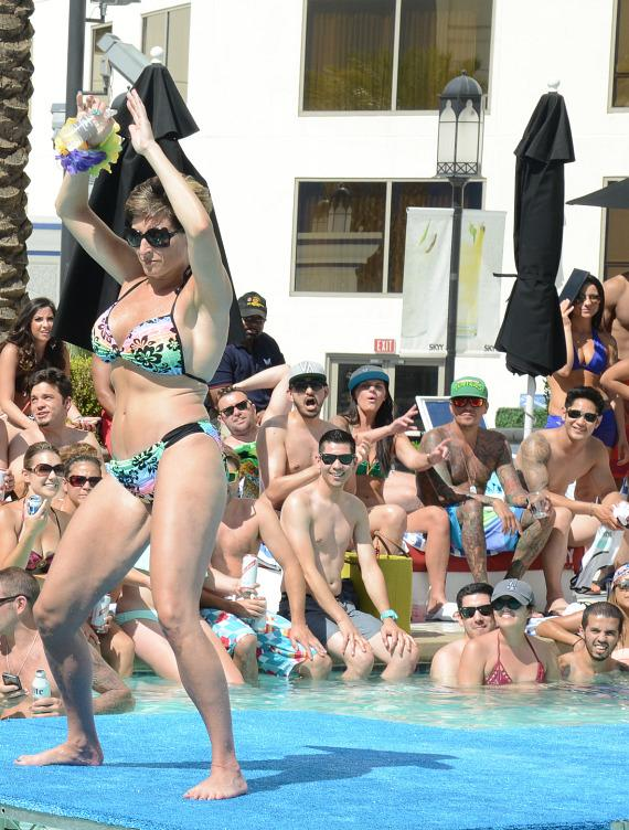 The crowd enjoys the 5th Annual Pleasure Pool Bikini Contest at Planet Hollywood Resort & Casino