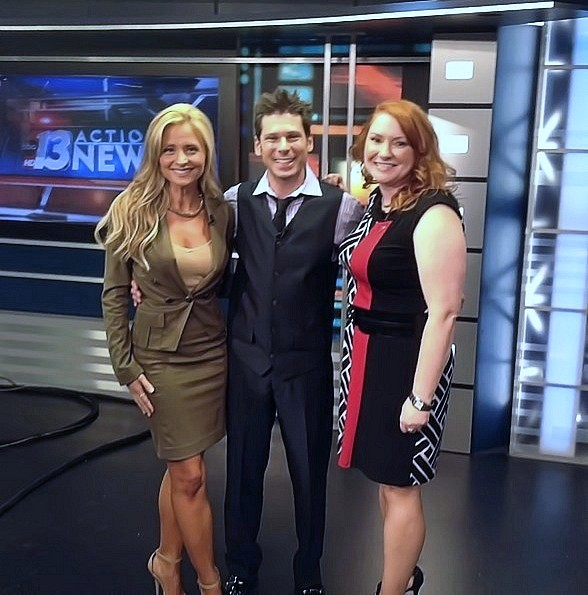 Mike Hammer with news anchor Lisa Remillard (on left) and Wendy Foster from the American Heart Association (on right)