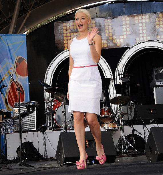 Holly Madison on Fremont Street stage
