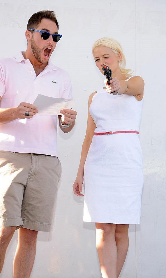 Josh Strickland and Holly Madison (with starting pistol)