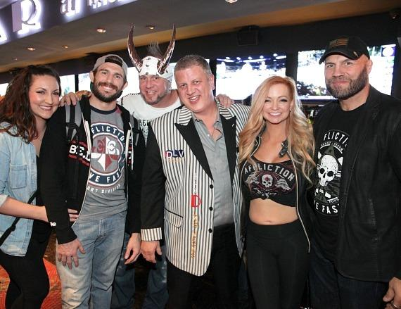 Randy Couture, Mindy Robinson, Horny Mike, Derek Stevens, Ryan Couture and Emily Couture at the LONGBAR at the D Casino Hotel Las Vegas