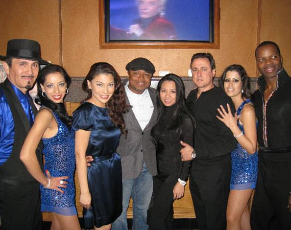 Lani Misalucha (third from left), Randy Jackson, Christine Giordano, Angelo Giordano with voices cast members