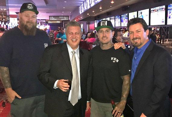 Rapper Big B, Owner Derek Stevens, Motocross Superstar Carey Hart and D Executive Richard Wilk at the LONGBAR inside The D Casino Hotel Las Vegas