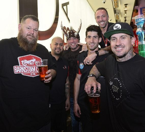 Rapper Big B, Carey Hart and Horny Mike Henry with D Bar Flair Bartenders at the D Casino Hotel Las Vegas