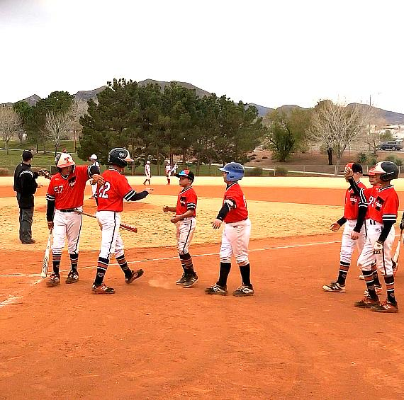 Rawlings Tigers Las Vegas 12u Team supporting Dane Keener after Hitting Homerun