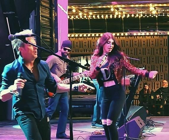 Recording artist Kelle Jansky performing with Vegas entertainer Zowie Bowie