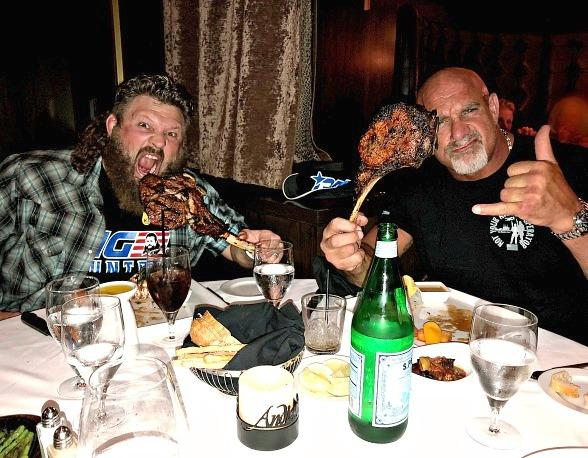 "Wrestling Legend Goldberg Dines with Bellator Heavyweight ""Big Country"" at Andiamo Italian Steakhouse in Las Vegas"
